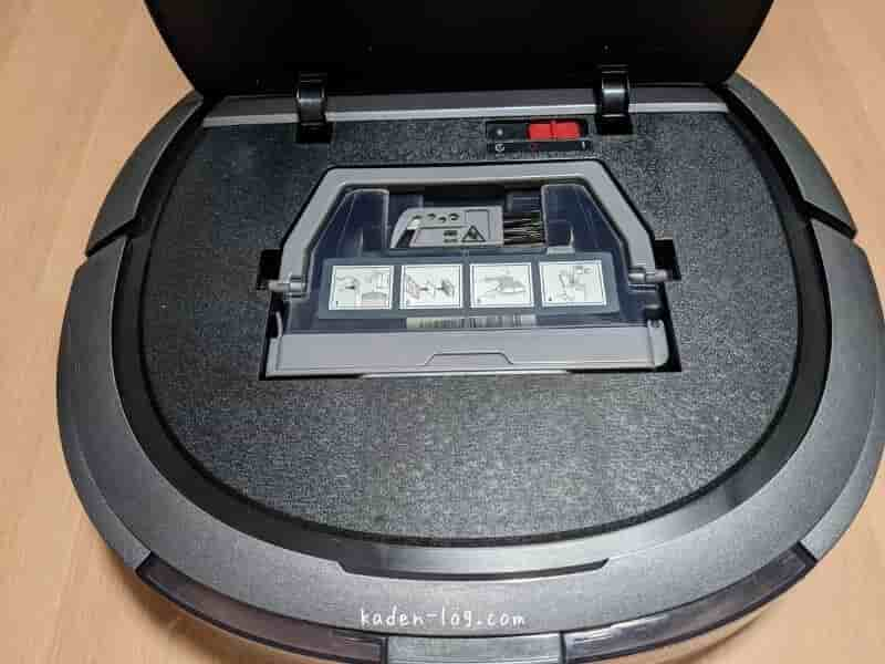 ECOVACS DEEBOT OZMO Slim10/Slim11(エコバックスのディーボット オズモ スリム10/11)の上面を開いた状態