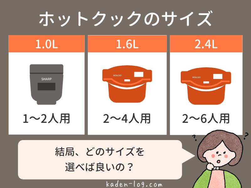 ホットクックのサイズは1.0L、1.6L、2.4Lの3種類